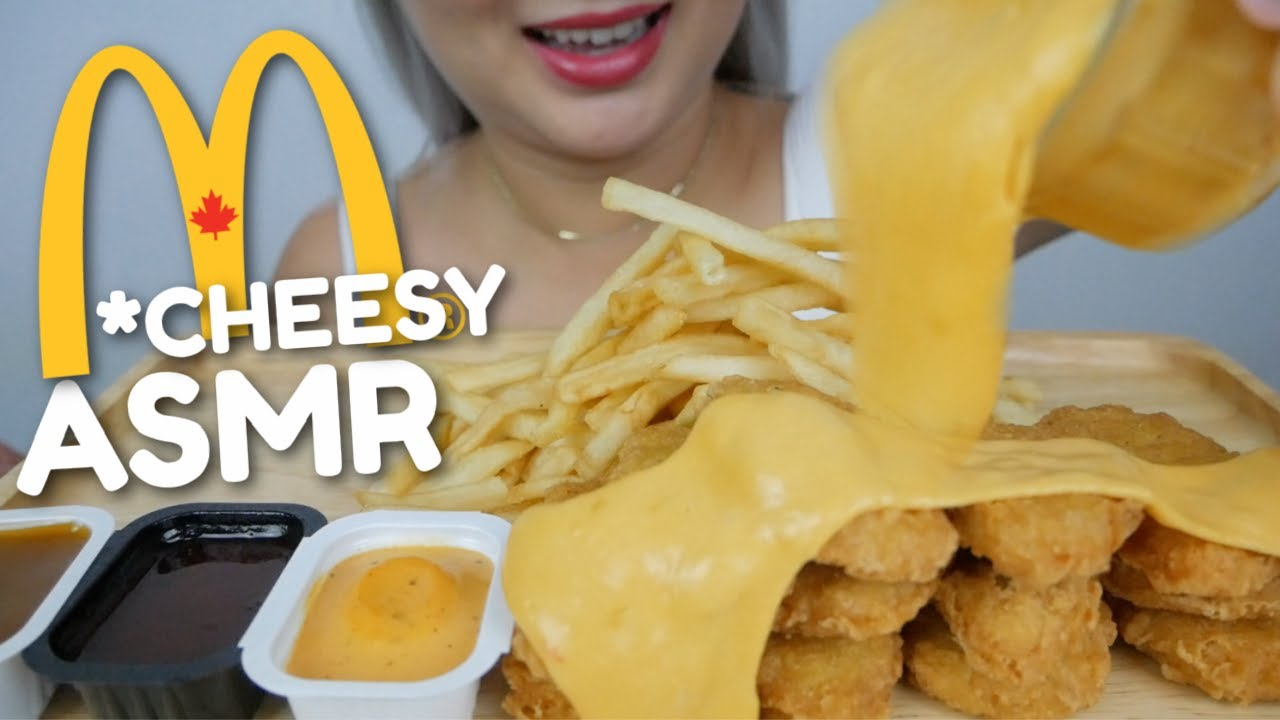 McDonald's Chicken Nuggets with Nacho Cheese Sauce *NO Talking Eating Sounds | N.E ASMR
