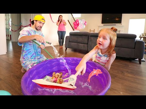 SWIMMING POOL inside the HOUSE!?? Barbie Dream Boat Pretend Play with Dolphin Magic