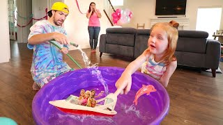 SWIMMING POOL inside the HOUSE!?? Barbie Dream Boat Pretend Play with Dolphin Magic 🐬