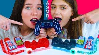 ASMR GAME CONTROLLER JELLY, NIK-L-NIPS WAX STICKS, GUMMY EYEBALLS, NERDS ROPE CANDY