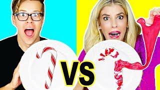 Candy Vs Slime Holiday Challenge! (DIY Fluffy Slime, edible slime, no borax)