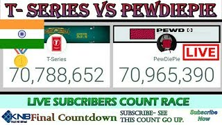 PEWDIEPIE VS T-SERIES | LIVE SUB COUNT | T SERIES VS PEWDIEPIE | SUBSCRIBER COUNT LIVE FROM INDIA
