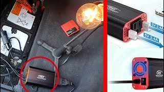 Compact Car Power Inverter 150W DC 12V to 110V with 2 USB 2.4A Review and Test
