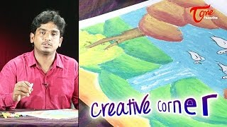 How to Draw a Waterfall Drawing & Colouring With Oil Pastel | Creative Corner | TeluguOne