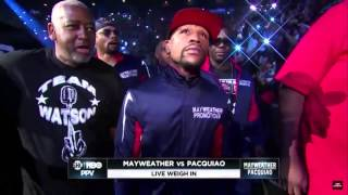 Floyd Mayweather makes his entrance with the rest of The Money Team