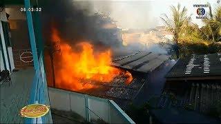 เพลิงโหมไหม้บ้านแม่ค้าย่านพระสมุทรเจดีย์วอด ลามไหม้บ้านข้างเคียง คาดไฟฟ้าลัดวงจร