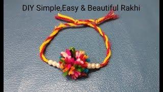 DIY super easy Rakhi at home/ woolen rakhi/ crochet rakhi/ lokarichi rakhi/ वूलन राखी/