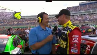 Danica Patrick photobombs Clint Bowyer During Interview