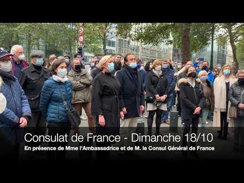Hommage à Samuel Paty devant le consulat de France à Bruxelles p