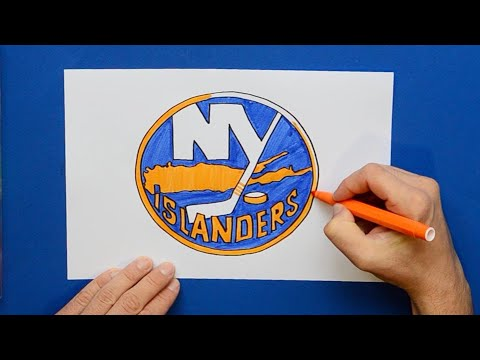 How to draw and color the New York Islanders Logo - NHL Team Series
