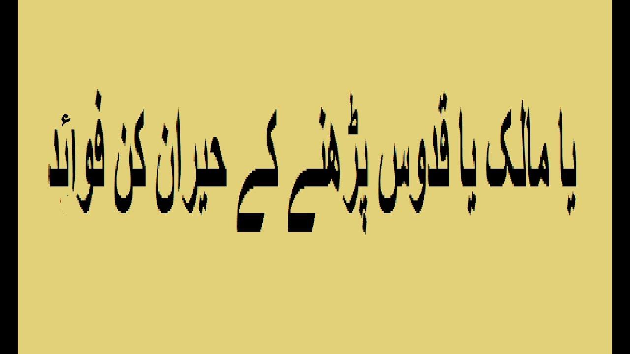 Ya maliku ya quddusu parhne k heran kun fawaid by Taleem O