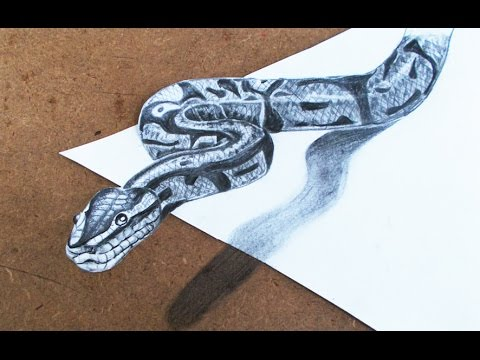 3D Drawings  How to Make 3d Snake Step by Step Pencil Drawings