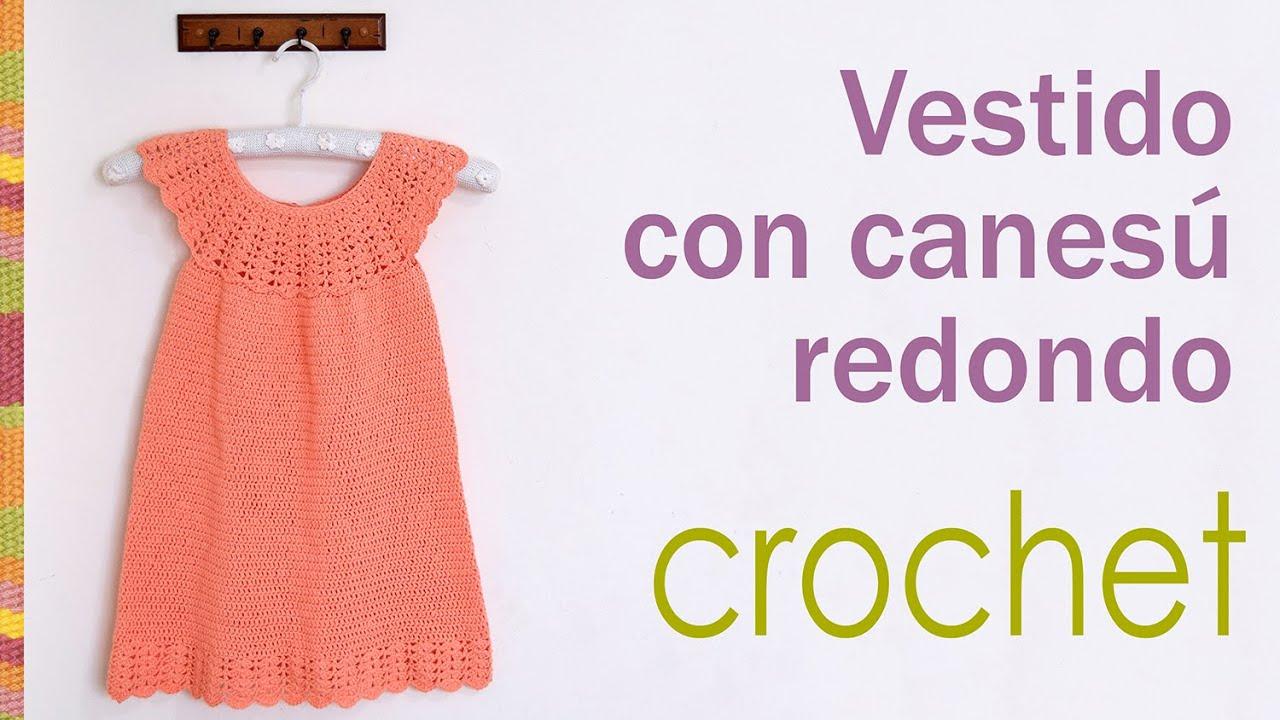 Vestido con canesú redondo tejido a crochet para niñas / Crocheted ...