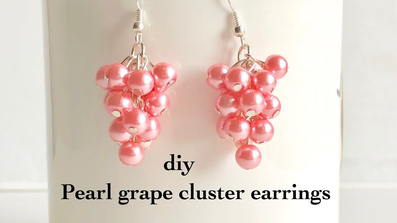 how to make pearl grape cluster earrings||making simple and easy