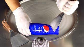 ASMR - PEPSI Ice Cream Rolls | how to make crushed iced Pepsi Cola to fried Ice Cream - satisfying
