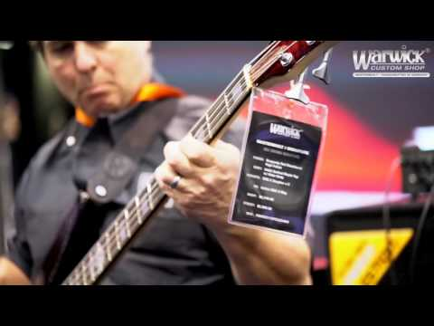 Andy Calder jamming on the new Rex Brown Reverso Signature