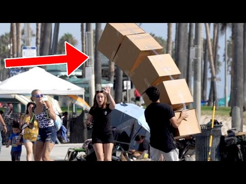 Funny Falling Boxes Prank!