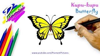 Kupu-kupu 🎨 Cara Menggambar dan Mewarnai Gambar Hewan (How to Draw a Butterfly)