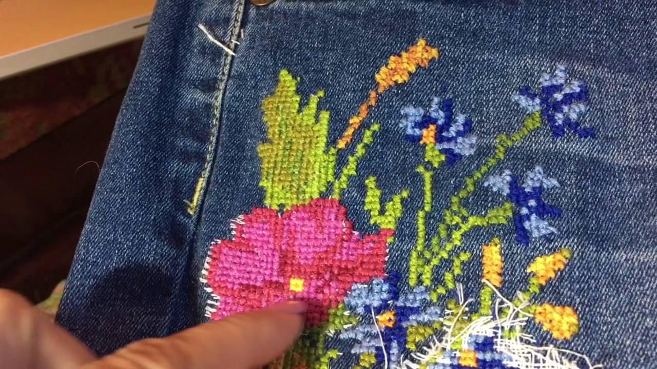 Как удалить вышивку на джинсах