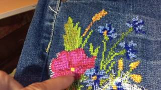 видео Рисунки для вышивки гладью на джинсах