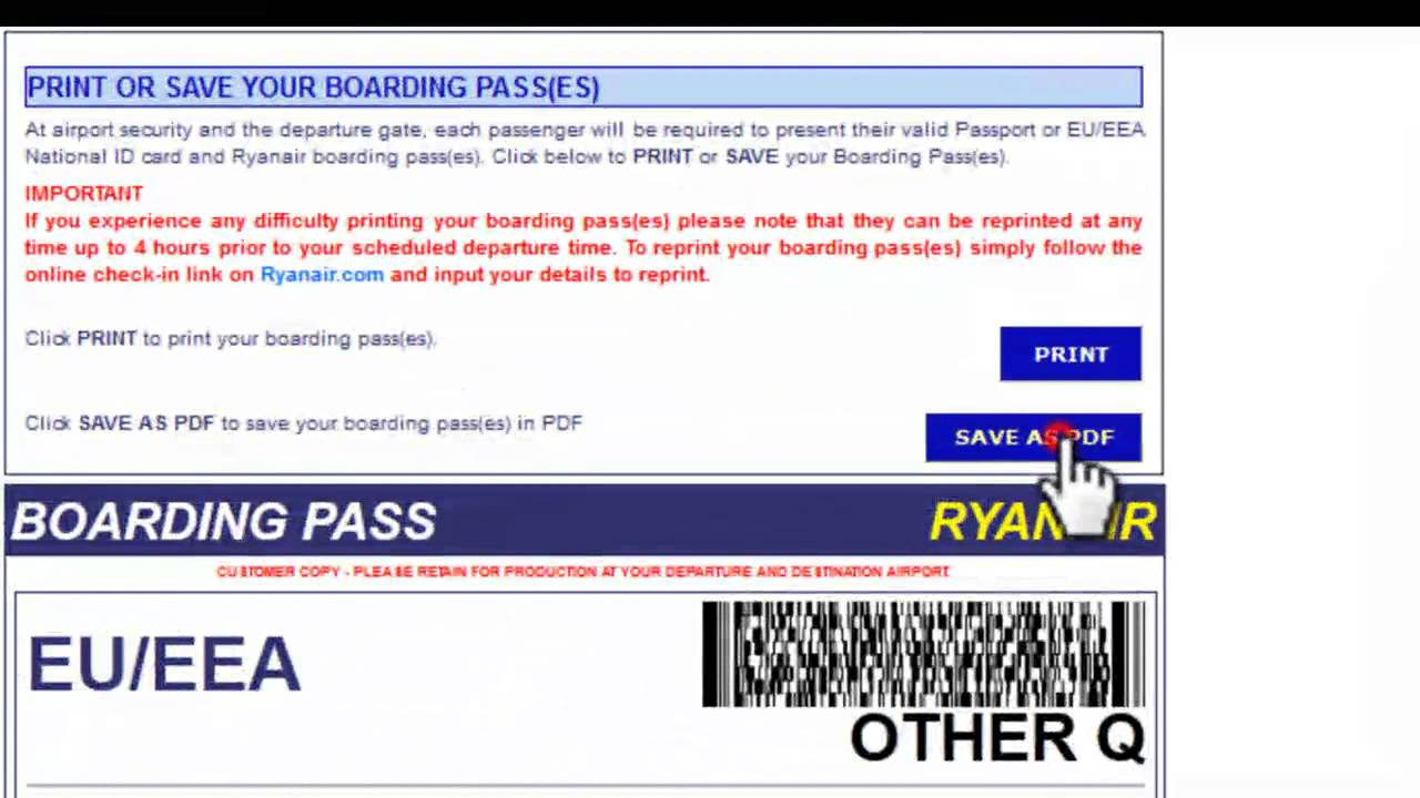 Ryanair checkin reprint youtube