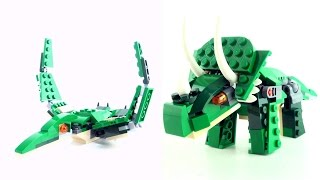 Lego Creator Triceratops Pteranodon - Mighty Dinosaurs 3 in 1 - Tyrannosaurus Rex speed build 31058