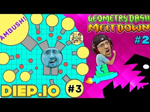 LAST MAN STANDING!! Yellow Tank Ambush DIEP.IO #3 + GEOMETRY DASH Meltdown w/ FGTEEV Duddy