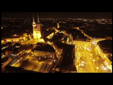 Zagreb by night - Aerial footage