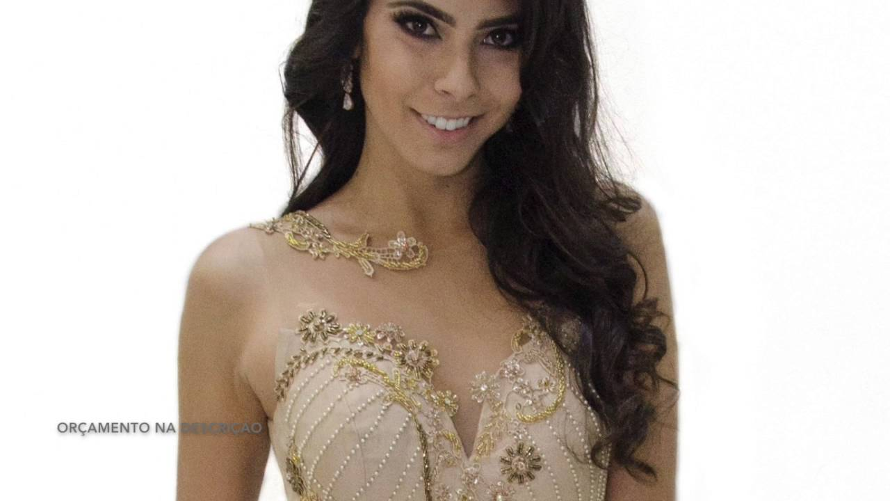 4c44269ef Vestido de Festa Venda Nude de Pedraria Longo Patchoulee N.402 - YouTube