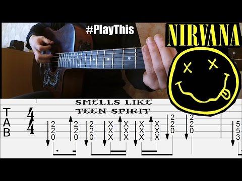 Как играть Nirvana - Smells Like Teen Spirit (фингерстайл) + ТАБЫ    Уроки гитары от PlayThis#25