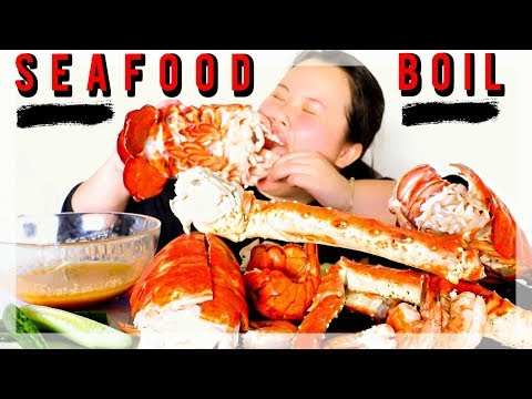 MUKBANG SEAFOOD BOIL! 먹방 (EATING SHOW!) KING CRAB + GIANT LOBSTER + SHRIMP