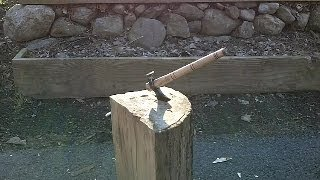 blacksmithing knifemaking hand forged bush craft ax tomahawk from a railroad spike