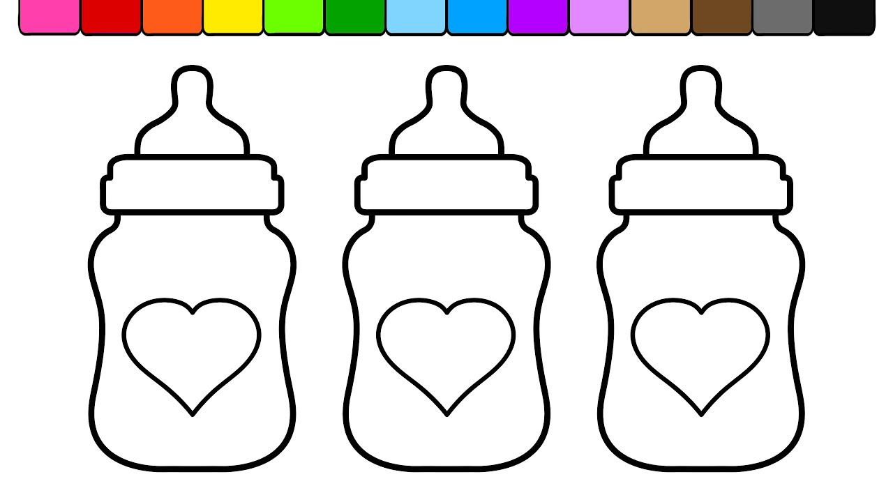 learn colors and color heart baby bottles coloring pages youtube