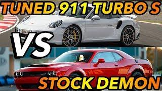 Dodge Demon vs Modded Porsche 911 Turbo S