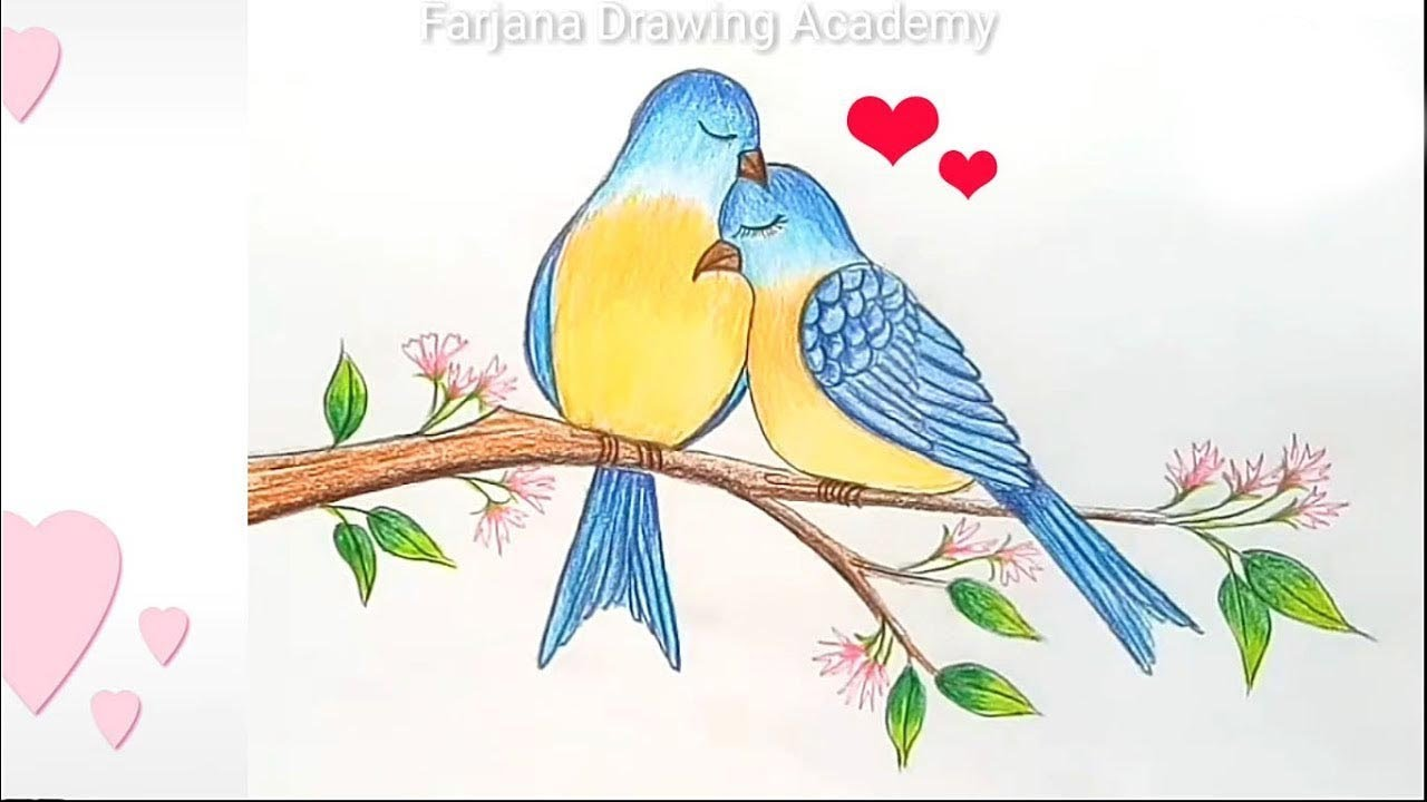 How to draw two birds in love ♥ step by step