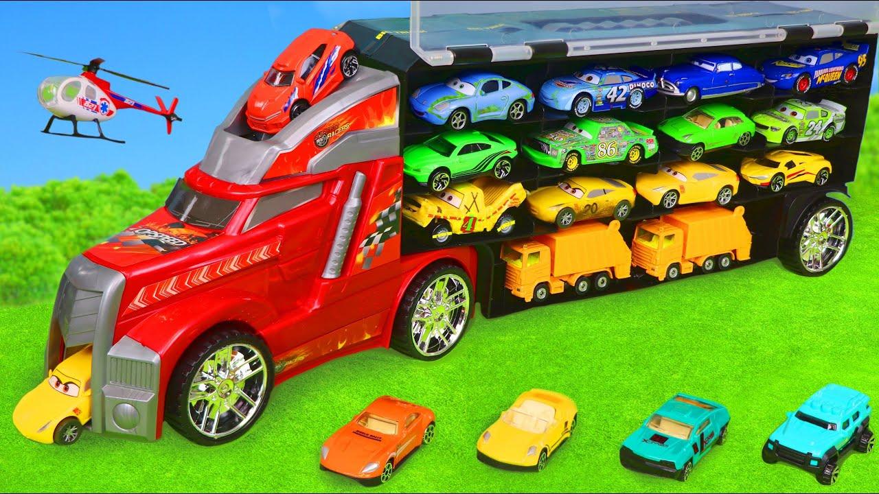 Escavadora, Carrinho de bombeiros, caminhão de lixo, Caminhões de lixo e carros - Toy Cars for kids