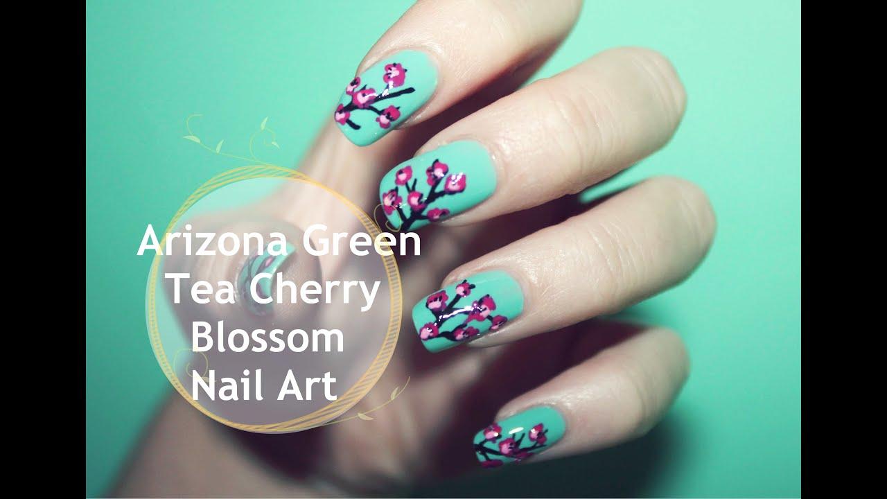 Arizona Green Tea Cherry Blossom Nail Art ❤ - YouTube