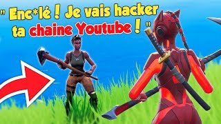 1vs1 against a RAGEUX who wants to HACK my YOUTUBE CHAINE! (troll fortnite playground)