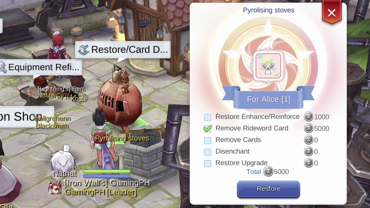how to remove card inlay in equipment in ragnarok m