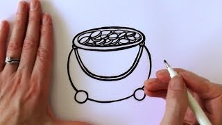How to Draw a Cartoon Pot of Gold