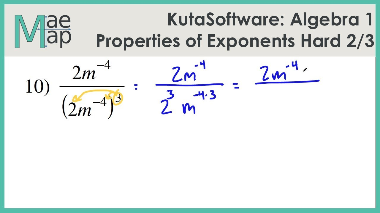 Kutasoftware Algebra 1 Properties Of Exponents Hard Part 2 Youtube