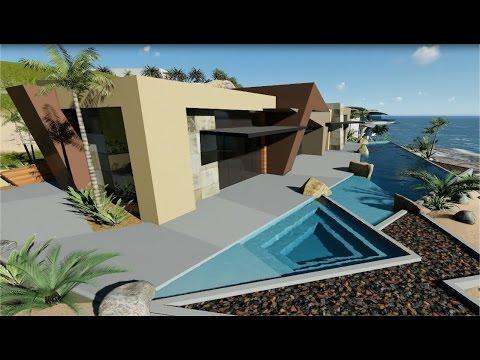 Hillside ocean view contemporary modern house villa youtube for Modern 90s house music