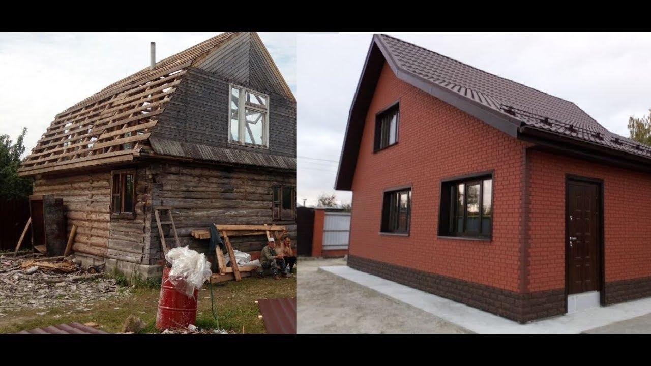 реконструкция деревянного дома фото до и после террасы