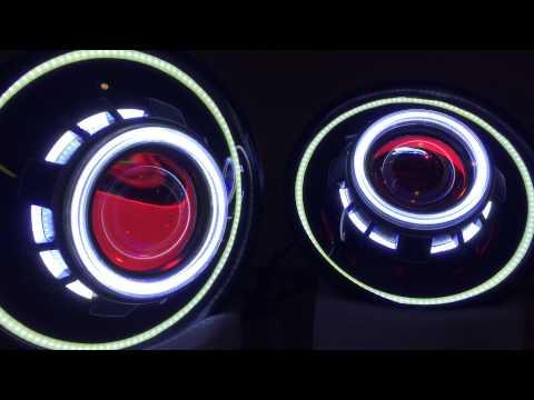 Jeep Wrangler JK Projector Headlights - Angel Eyes Devil Eyes Halo HID HIDprojectors.com