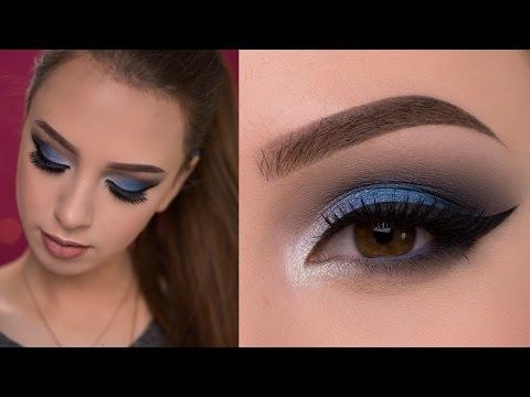 Dramatic Blue Smokey Eye Makeup Tutorial