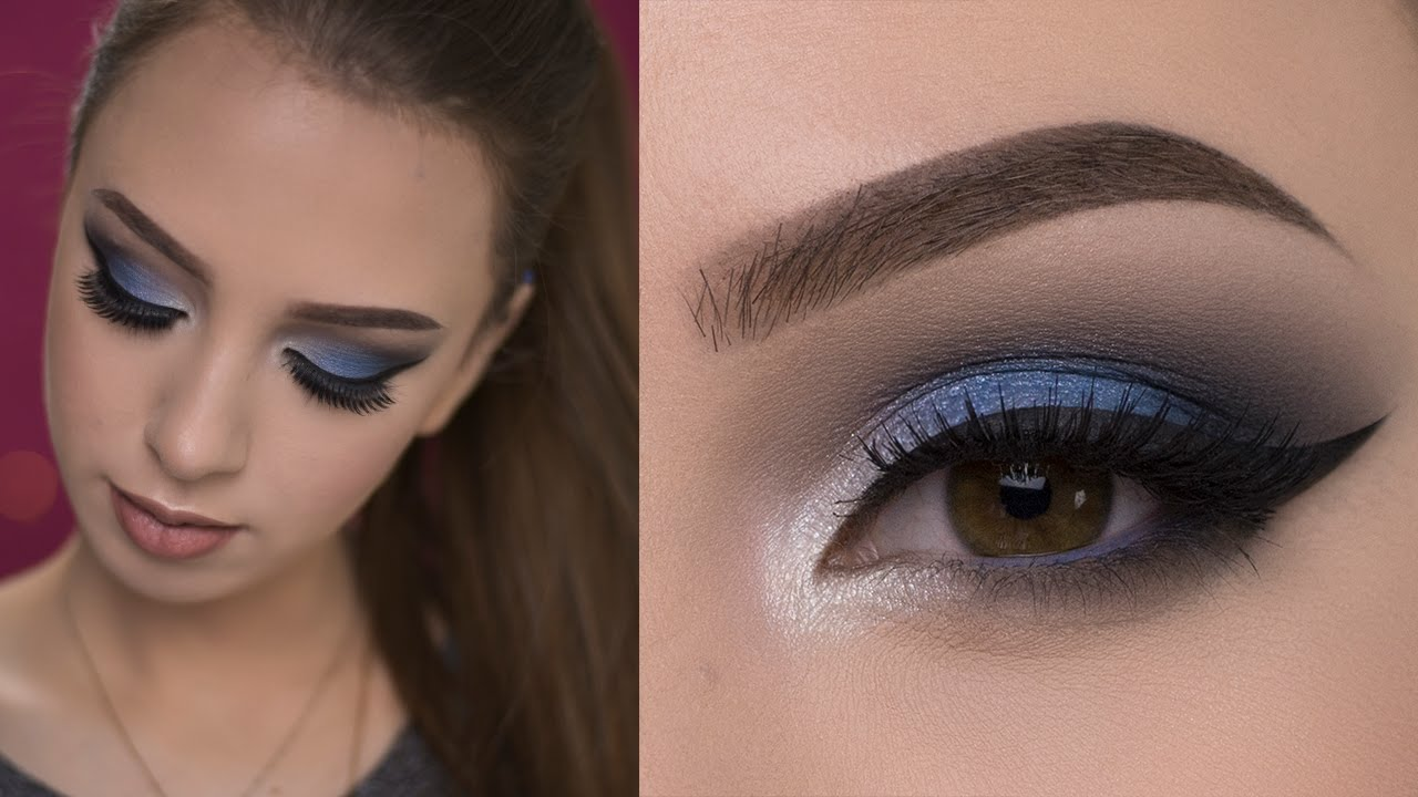 dramatic blue smokey eye makeup tutorial - youtube