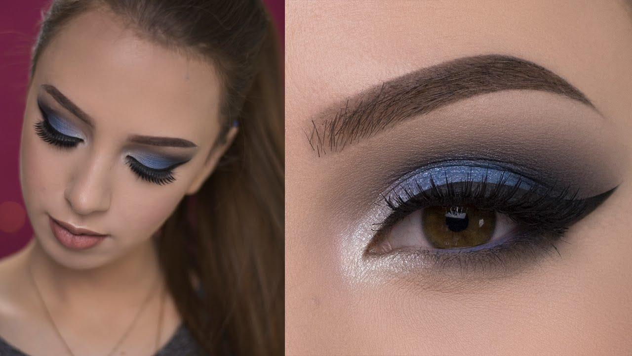 dramatic blue smokey eye makeup tutorial - youtube