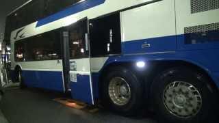 JR 松山駅前 高速乗合いバス 乗り場 JRバス関東 三菱ふそう エアロキング 他 Rainy night 2014.2