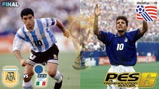 ARGENTINA vs ITALIA FINAL MUNDIAL EEUU 1994 PES 6