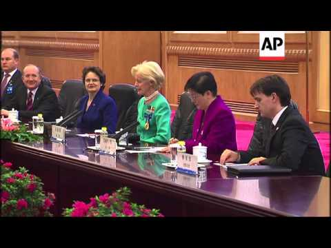 Visiting Australian Governor General meets Chinese President and Premier